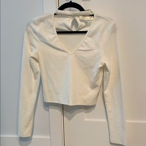 J.O.A white long sleeve top size medium